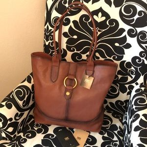 New Frye Cognac Leather Tote Purse Bag $428